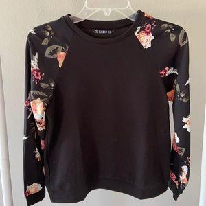 SHEIN Black & Floral Long Sleeve Top